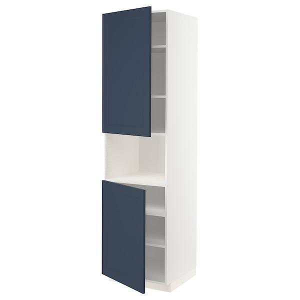 METOD Korkea kaappi mikrolle 2 ovea/hl, valkoinen Axstad/matta sininen, 60x60x220 cm