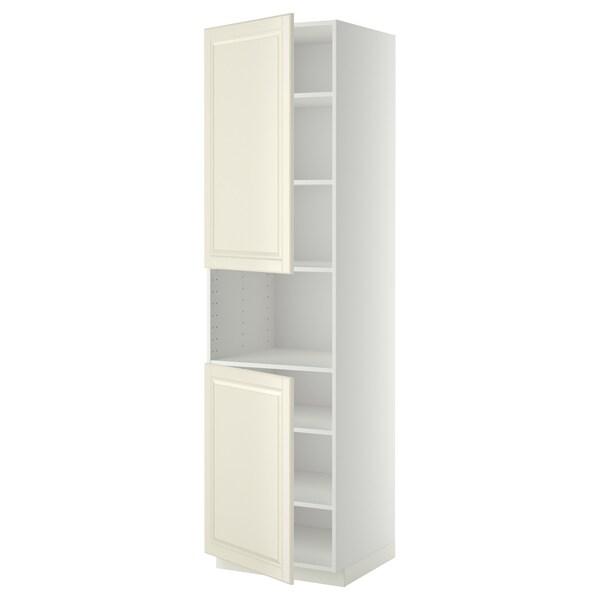 METOD Korkea kaappi mikrolle 2 ovea/hl, valkoinen/Bodbyn luonnonvalkoinen, 60x60x220 cm