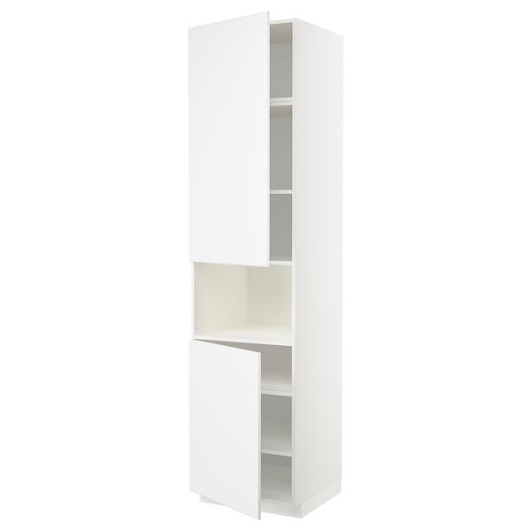 METOD Korkea kaappi mikrolle 2 ovea/hl, valkoinen/Kungsbacka matta valkoinen, 60x60x240 cm