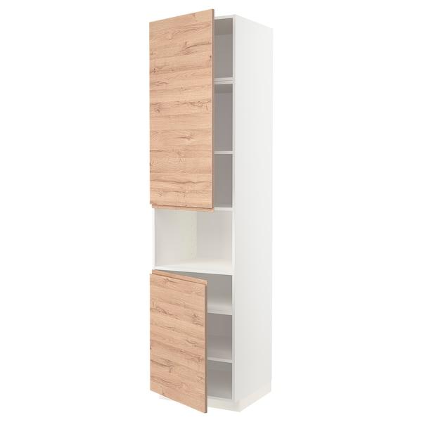 METOD Korkea kaappi mikrolle 2 ovea/hl, valkoinen/Voxtorp tammikuvio, 60x60x240 cm