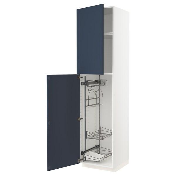 METOD Korkea kaappi siivoussisusteella, valkoinen Axstad/matta sininen, 60x60x240 cm