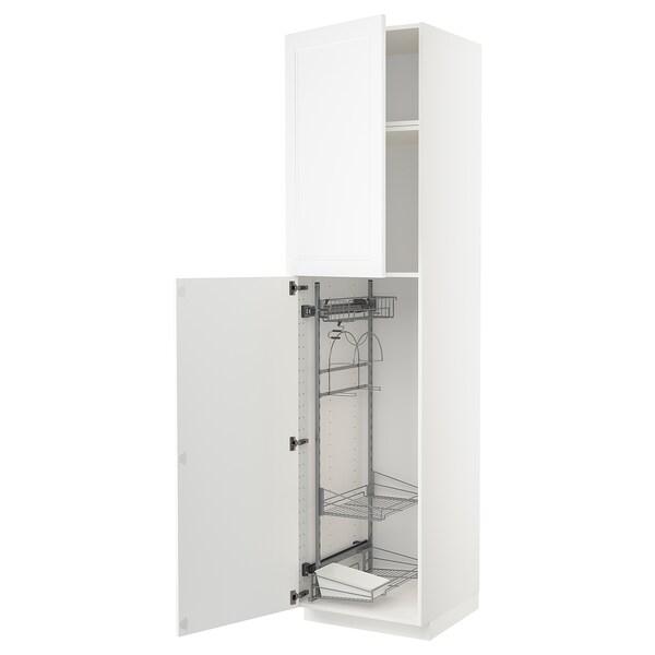 METOD Korkea kaappi siivoussisusteella, valkoinen/Axstad matta valkoinen, 60x60x240 cm