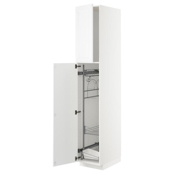 METOD Korkea kaappi siivoussisusteella, valkoinen/Axstad matta valkoinen, 40x60x220 cm