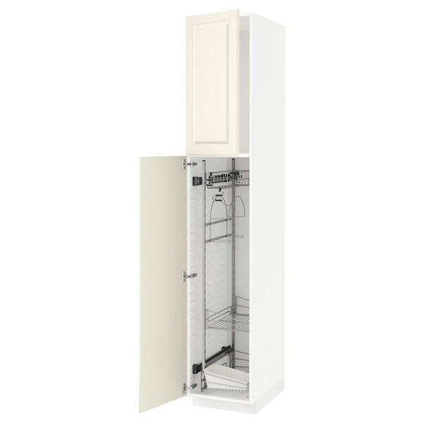 METOD Korkea kaappi siivoussisusteella, valkoinen/Bodbyn luonnonvalkoinen, 40x60x220 cm