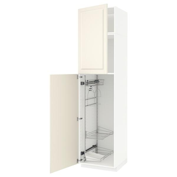 METOD Korkea kaappi siivoussisusteella, valkoinen/Bodbyn luonnonvalkoinen, 60x60x240 cm