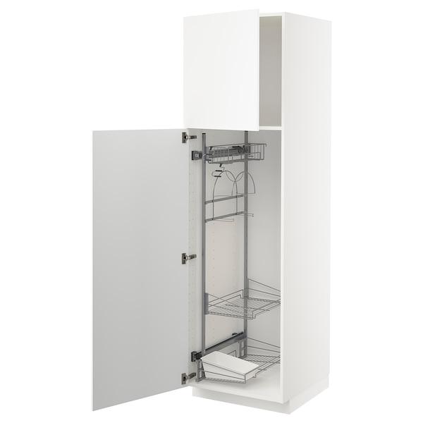 METOD Korkea kaappi siivoussisusteella, valkoinen/Kungsbacka matta valkoinen, 60x60x200 cm