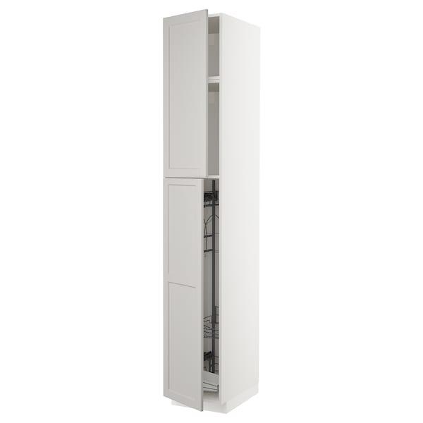 METOD Korkea kaappi siivoussisusteella, valkoinen/Lerhyttan vaaleanharmaa, 40x60x240 cm