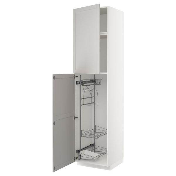METOD Korkea kaappi siivoussisusteella, valkoinen/Lerhyttan vaaleanharmaa, 60x60x240 cm