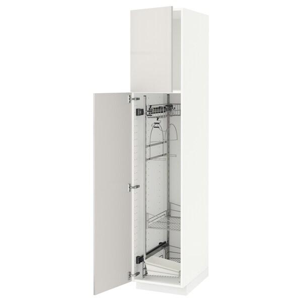METOD Korkea kaappi siivoussisusteella, valkoinen/Ringhult vaaleanharmaa, 40x60x200 cm