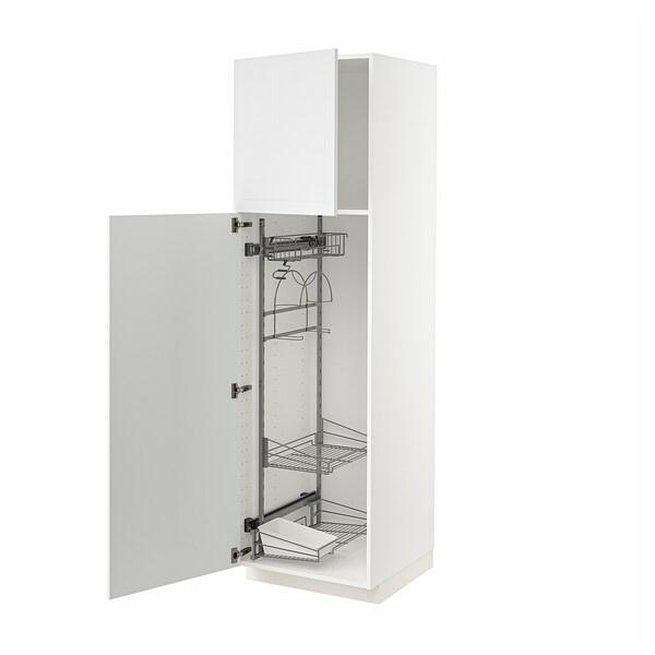 METOD Korkea kaappi siivoussisusteella, valkoinen/Stensund valkoinen, 60x60x200 cm