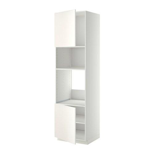 METOD Korkea kaappi uun mikr 2o hl  valkoinen, Veddinge valkoinen, 60x60x220