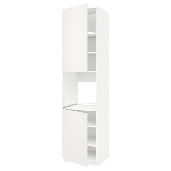 METOD Korkea kaappi uunille 2 ovea/hl, valkoinen/Veddinge valkoinen, 60x60x240 cm