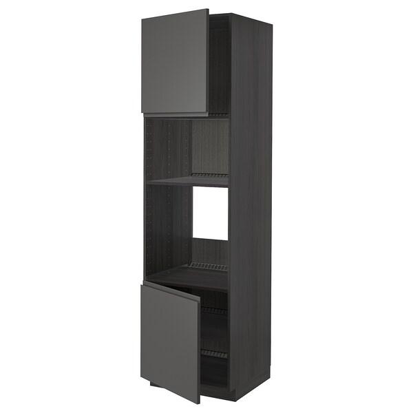 METOD Korkea kaappi uunille/mikr 2 lt/hl, musta/Voxtorp tummanharmaa, 60x60x220 cm
