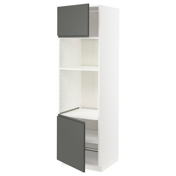 METOD Korkea kaappi uunille/mikr 2 lt/hl, valkoinen/Voxtorp tummanharmaa, 60x60x200 cm