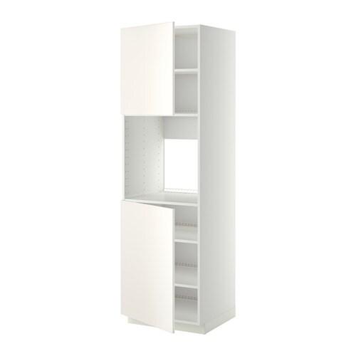 METOD Korkea kaappi uunille 2 ov hl  valkoinen, Veddinge valkoinen, 60x60x20