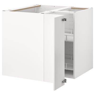 METOD Kulmapöytäkaappi karusellilla, valkoinen/Veddinge valkoinen, 88x88 cm