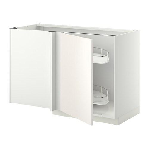 METOD Kulmapöytäkaappi+uv sisuste  valkoinen, Veddinge valkoinen  IKEA