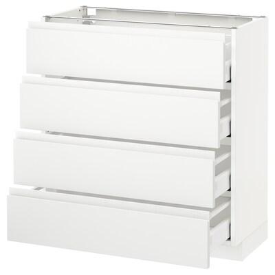 METOD / MAXIMERA pöytäkaappi 4 etusrj/4 laatikkoa valkoinen/Voxtorp matta valkoinen 80.0 cm 39.1 cm 88.0 cm 37.0 cm 80.0 cm