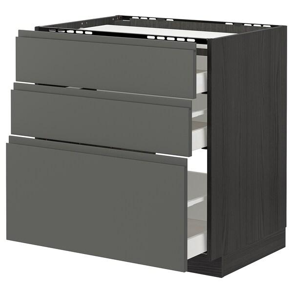 METOD / MAXIMERA pöytäkaappi keittotas/3 esrj/3 lt musta/Voxtorp tummanharmaa 80.0 cm 62.1 cm 88.0 cm 60.0 cm 80.0 cm