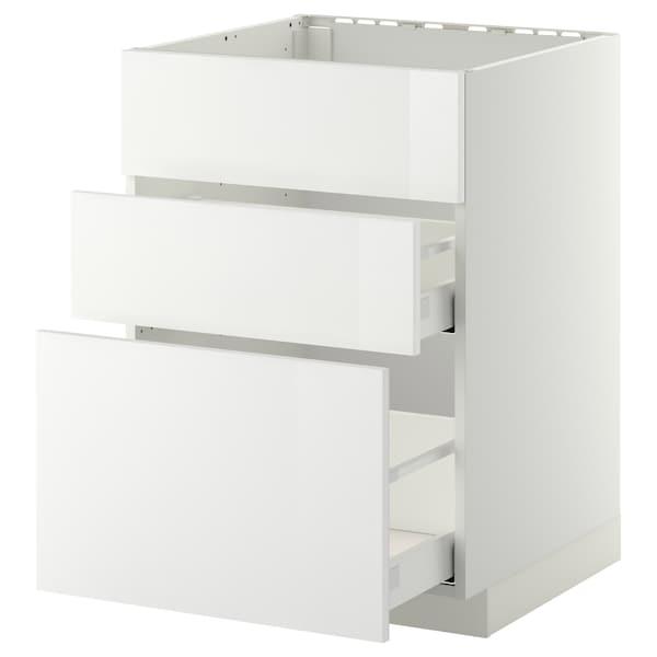 METOD / MAXIMERA pöytäkaappi altaalle/3 esrj/2 lt valkoinen/Ringhult valkoinen 60.0 cm 61.8 cm 88.0 cm 60.0 cm 80.0 cm
