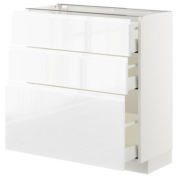 METOD / MAXIMERA pöytäkaappi + 3 laatikkoa valkoinen/Voxtorp korkeakiilto/valkoinen 80.0 cm 39.1 cm 88.0 cm 37.0 cm 80.0 cm