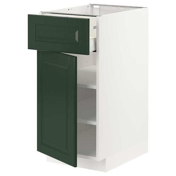METOD / MAXIMERA pöytäkaappi laatikolla ja ovella valkoinen/Bodbyn tummanvihreä 40.0 cm 61.9 cm 88.0 cm 60.0 cm 80.0 cm