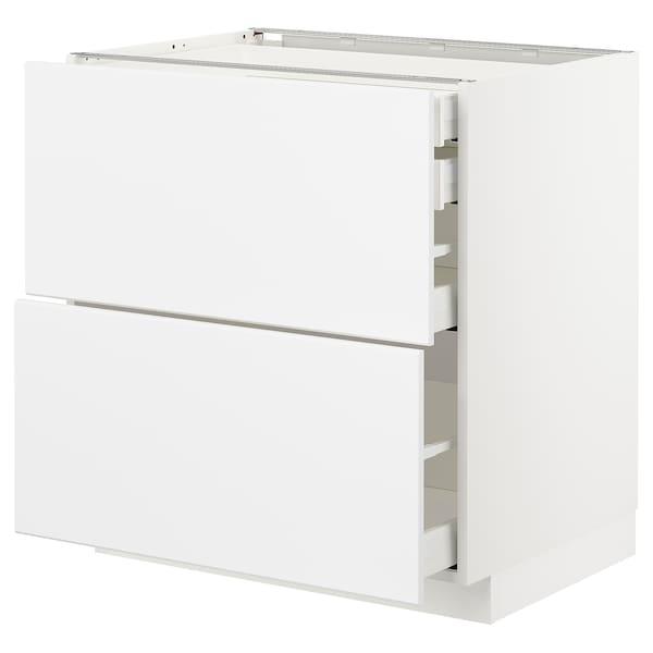 METOD / MAXIMERA pöytäkaap 2 esrj/2 ma/1 ke/1 ko lt valkoinen/Kungsbacka matta valkoinen 80.0 cm 61.6 cm 88.0 cm 60.0 cm 80.0 cm
