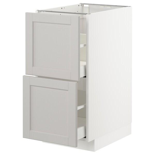 METOD / MAXIMERA pöytäkaappi 2 etusrj/2 ko laatikkoa valkoinen/Lerhyttan vaaleanharmaa 40.0 cm 61.9 cm 88.0 cm 60.0 cm 80.0 cm