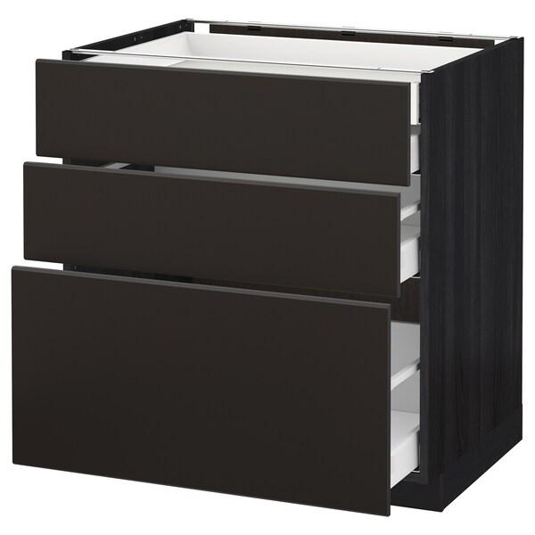 METOD / MAXIMERA pöytäkaap 3 esrj/2 ma/1 ke/1 ko lt musta/Kungsbacka antrasiitti 80.0 cm 61.6 cm 88.0 cm 60.0 cm 80.0 cm
