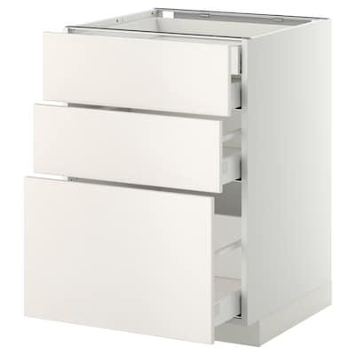 METOD / MAXIMERA pöytäkaap 3 esrj/2 ma/1 ke/1 ko lt valkoinen/Veddinge valkoinen 60.0 cm 61.6 cm 88.0 cm 60.0 cm 80.0 cm