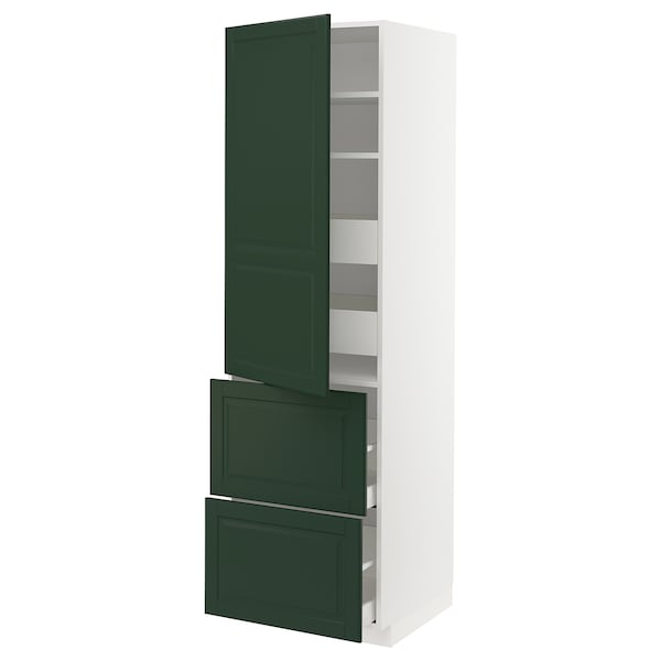 METOD / MAXIMERA Korkea kaappi hyllyt/4 lt/o/2 esrj, valkoinen/Bodbyn tummanvihreä, 60x60x200 cm