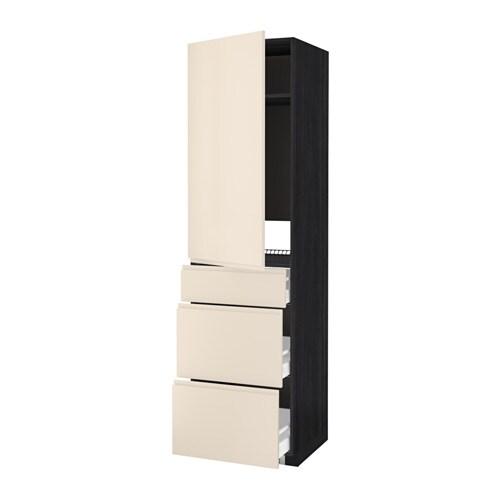 METOD  MAXIMERA Korkea kaappi jääkaapille ovi 3 lt  puukuvioitu musta, Voxt