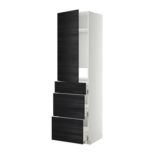 METOD  MAXIMERA Korkea kaappi jääkaapille ovi 3 lt  valkoinen, Tingsryd puu