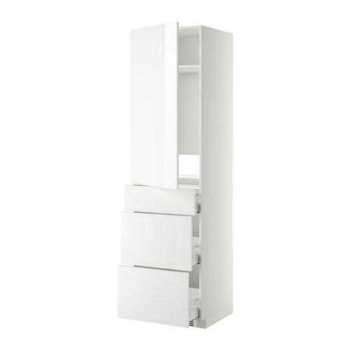 METOD  MAXIMERA Korkea kaappi jääkaapille ovi 3 lt  valkoinen, Ringhult kor