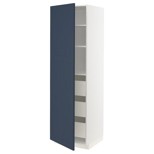 METOD / MAXIMERA Korkea kaappi laatikoilla, valkoinen Axstad/matta sininen, 60x60x200 cm