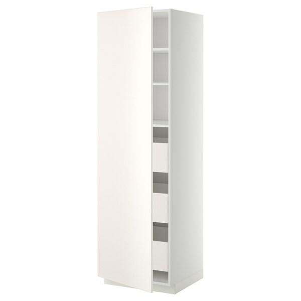 METOD / MAXIMERA Korkea kaappi laatikoilla, valkoinen/Veddinge valkoinen, 60x60x200 cm