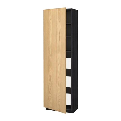 Ikea Malm Upholstered Headboard ~ METOD  MAXIMERA Korkea kaappi, laatikot  puukuvioitu musta, Ekestad