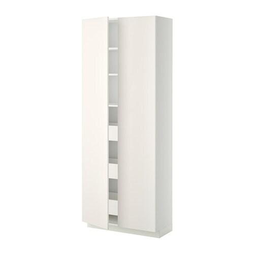 METOD  MAXIMERA Korkea kaappi, laatikot 2 ovea  valkoinen, Veddinge valkoin