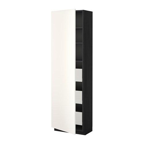 METOD  MAXIMERA Korkea kaappi, laatikot  puukuvioitu musta, Veddinge valkoi