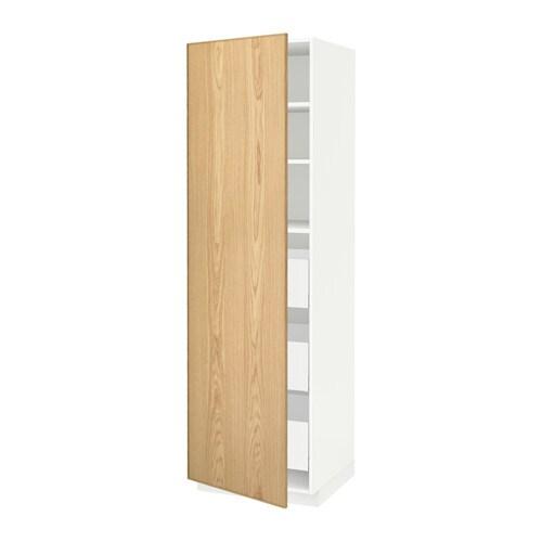 METOD  MAXIMERA Korkea kaappi, laatikot  valkoinen, Ekestad tammi, 60x60x20