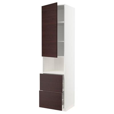 METOD / MAXIMERA Korkea kaappi mikro+ovi/2 laat, valkoinen Askersund/tummanruskea saarnikuvioitu kalvopinnoite, 60x60x240 cm