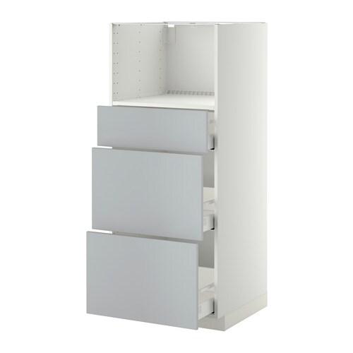 METOD  MAXIMERA Korkea kaappi mikrolle 3 laatikkoa  valkoinen, Veddinge har
