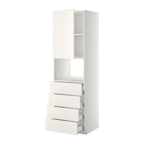 METOD  MAXIMERA Korkea kaappi mikrolle ovi 4 laat  valkoinen, Veddinge valk