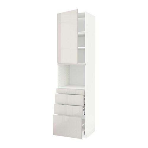 METOD  MAXIMERA Korkea kaappi yhdmikro+ovi 4 laat  valkoinen, Ringhult kork