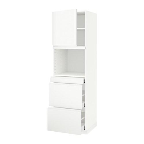 METOD  MAXIMERA Korkea kaappi yhdmikro+ovi 3 laat  valkoinen, Voxtorp valko