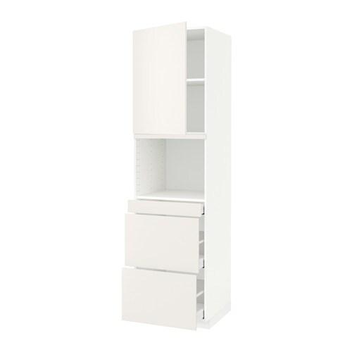 METOD  MAXIMERA Korkea kaappi yhdmikro+ovi 3 laat  valkoinen, Veddinge valk