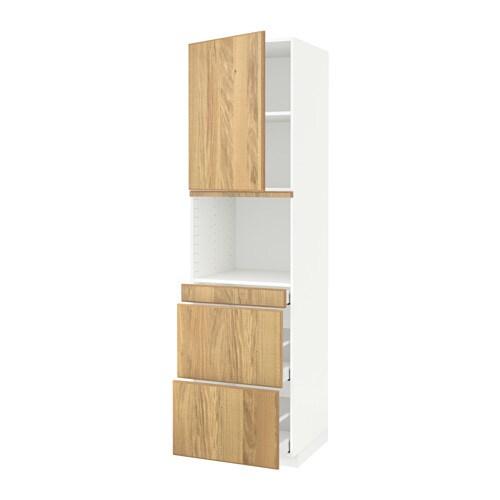 METOD  MAXIMERA Korkea kaappi yhdmikro+ovi 3 laat  valkoinen, Hyttan tammiv