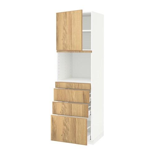 METOD  MAXIMERA Korkea kaappi yhdmikro+ovi 4 laat  valkoinen, Hyttan tammiv