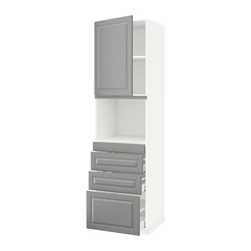 METOD  MAXIMERA Korkea kaappi yhdmikro+ovi 4 laat  valkoinen, Bodbyn harmaa