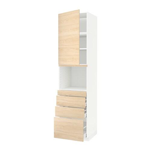 METOD  MAXIMERA Korkea kaappi yhdmikro+ovi 4 laat  valkoinen, Askersund vaa
